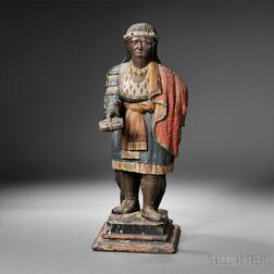 Polychrome Carved Indian Maiden Countertop Tobacconist Figure
