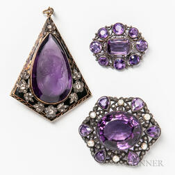14kt Gold, Enamel, Amethyst and Diamond Pendant and Two Silver and Amethyst Brooches