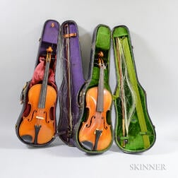 Two Violins with Cases and Bows
