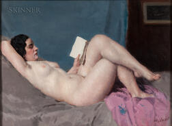 Louis François Biloul (French, 1874-1947)      Reclining Nude with Book