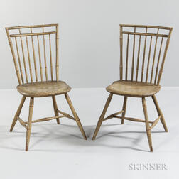 Pair of Light Green/gray-painted Rod-back Windsor Chairs