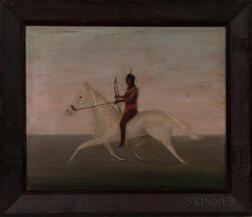 Oil on Canvas Depicting an Indian on Horseback