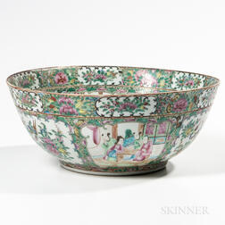 Rose Medallion Export Porcelain Punch Bowl