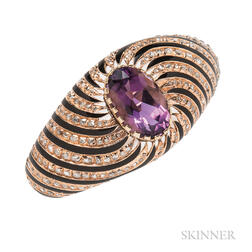 14kt Gold, Amethyst, and Diamond Bracelet