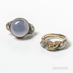 18kt Gold and Yellow Diamond Ring and a 14kt Gold and Quartz Ring