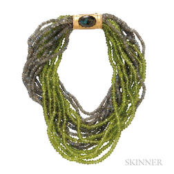 Labradorite and Peridot Bead Necklace, Buccellati