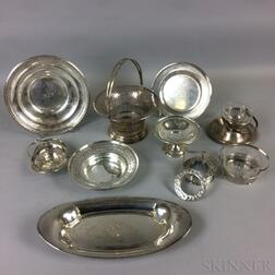 Eleven Pieces of Sterling Silver Reticulated Tableware