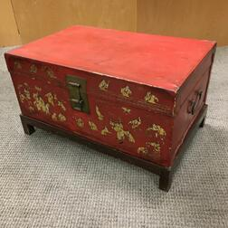Red and Gilt-painted Trunk on Stand