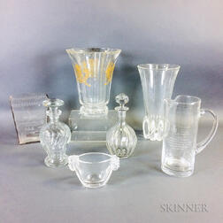 Seven Colorless Glass Vessels