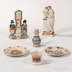 Six Pearlware Table/Decorative Items