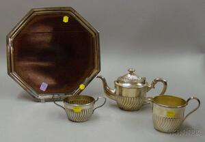 Three-piece Silver Plated Tete-a-Tete Tea Set with Octagonal Wood-inset Salver.