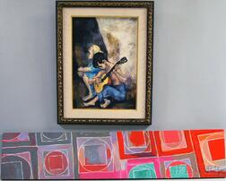 Two 20th Century Paintings:      Mervin M. Jules (American, 1912-1994), The Guitar Player