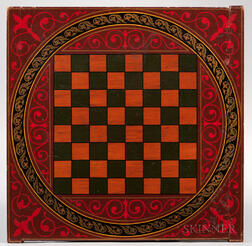 Fine Polychrome Double-sided Parcheesi/Checkers Board