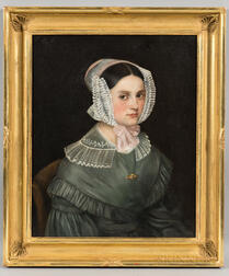 American School, Mid-19th Century      Portrait of Young Woman in Lace Cap