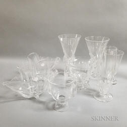 Eight Steuben Colorless Glass Bowls and Vases