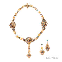 Gold Gem-set Necklace and Earclips