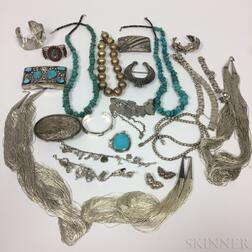 Group of Sterling Silver and Turquoise Jewelry