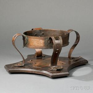 Onondaga Metal Shops Copper and Oak Chafing Stand