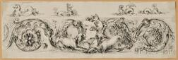 Stefano Della Bella (Italian, 1610-1664)    Frieze with a Child and Two Dogs