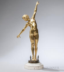 Fernand Ouillon-Carrere (French, 20th Century)       Gilt-bronze Figure of a Sword Dancer