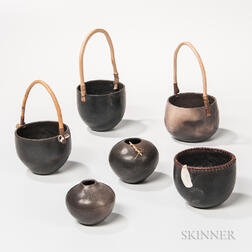 Six Pieces of David Ellis Raku Art Pottery