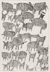 Donald Mitchell, (California, b. 1951)      Untitled (Animals and Figures)