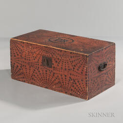 """Paint-decorated Poplar Box with Tacked Initials """"DB.,"""""""