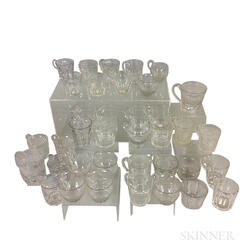 Thirty-seven Pressed Colorless Punch Glasses