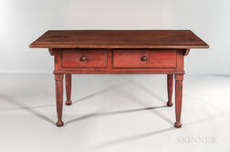 Red-painted Walnut Turned-leg Kitchen Table
