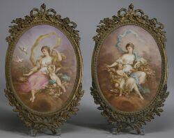 Pair of French Painted Porcelain Wall Plaques of Venus and Cupid