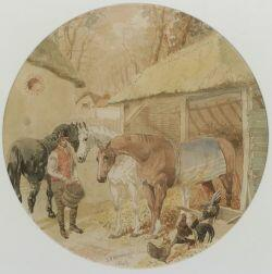 Attributed to John Frederick Herring, Sr.  (British, 1795-1865)  Lot of Two Stable Scenes