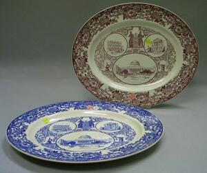 Two Wedgwood Oval 1934 MIT Transfer Decorated Platters