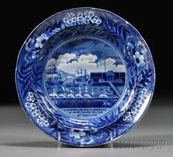 Historical Transfer-decorated Staffordshire Landing of LaFayette