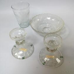 Four Etched and Cut Colorless Glass Items