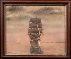 T. Bailey (Massachusetts, late 19th/early 20th Century)      Sailing Ship in a Calm Harbor