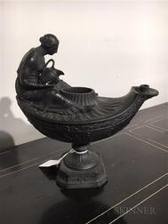 Wedgwood Black Basalt Vestal Oil Lamp