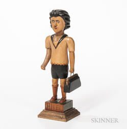 "Carved and Polychrome Painted ""Hiker"" Figure"