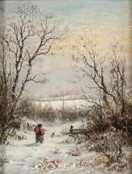 Charles Franklin Pierce (American, 1844-1920)      Heading Home/Figure and Dog in a Winter Landscape
