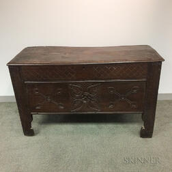 English Carved Oak Joined Chest