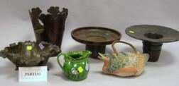 Four Asian Bronze Planters, a Ceramic Creamer and Goose-form Teapot, and a Brocade Carrying Case.
