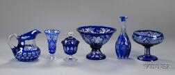 Six Pieces of Cobalt Cut to Clear Glass Items