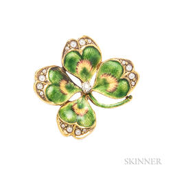Enamel Four-leaf Clover Pin