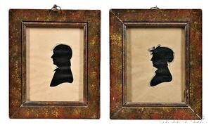 Pair of Hollow-cut Silhouette Portraits of a Man and a Woman