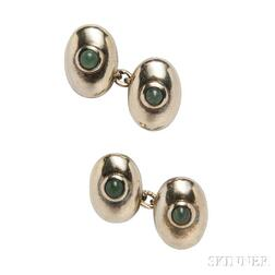 Pair of Sterling Silver and Aventurine Quartz Cuff Links