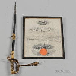 Abraham Lincoln Signed Naval Commission and Model 1851 Naval Officer's Sword