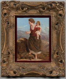 British School, 19th Century      Mother and Child Traveling in Mountain Landscape