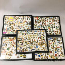 Five Framed Groups of Mostly State and Federal Law Enforcement Enameled Pins.     Estimate $50-100
