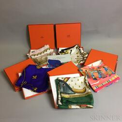 Five Hermes Silk Scarves and an Instruction Manual