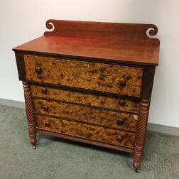 Late Federal Cherry and Bird's-eye Maple Veneer Chest of Drawers