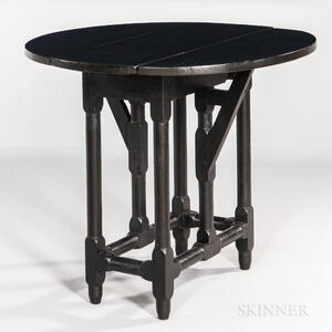 "Small Black-painted ""Crane-gate"" Drop-leaf Table"